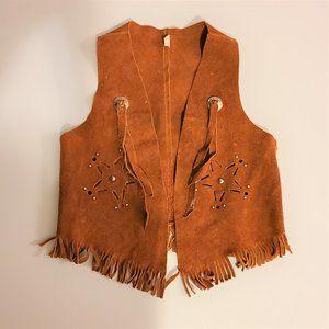 Suede leather kids western vest. Size Large kids.